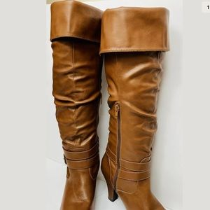 Women's Forever 21 fold over slouch boots brown